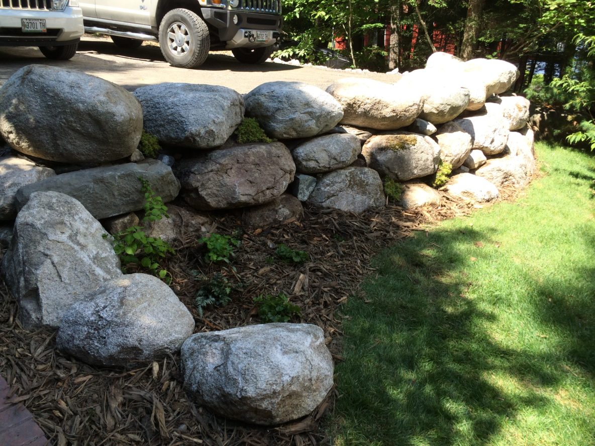 Stone walls designed by c m nichols maine landscape for Landscaping rocks pinellas county