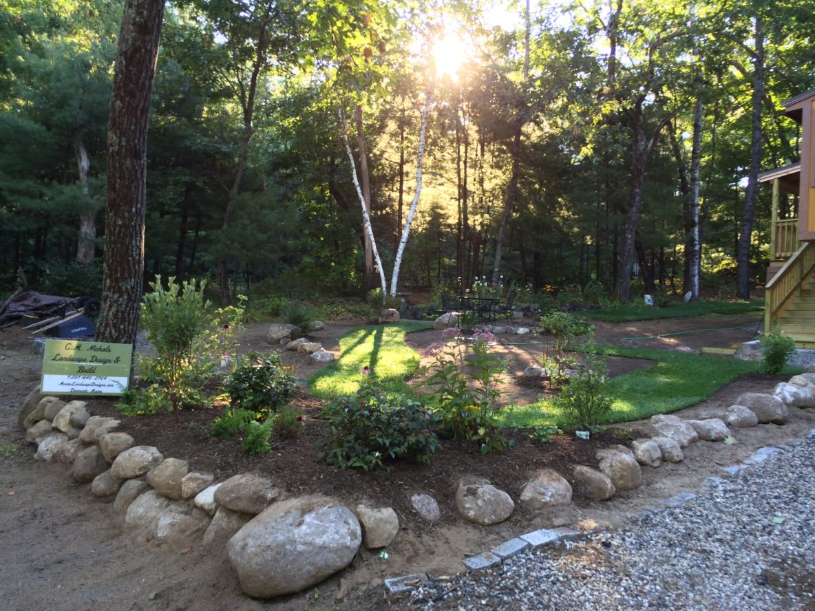 Stone walls designed by c m nichols maine landscape for Landscape design services